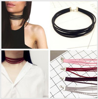 Wholesale Korea Stocking Girls - Hot Sales Retro Chokers Fashion Necklaces for Women Girls Fashion Accessories Cheap South Korea velvet Materials Wholesales In stock NICE