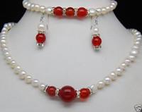 ingrosso braccialetti rossi della giada bianca-Charme 7-8MM White Pearl Red Jade Collana earringst Set