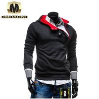 Wholesale Warm Villus - Wholesale- New Autumn Winter Warm Men Hoodies Villus Casual Fashion Coat Askew Button hooded men hoodies