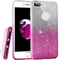 Barato Brilho Do Inclinação Do Caso Do Iphone-Para Iphone 7 Luxo Glitter Bling Gradiente Cor Soft TPU Case Cover Phone Cases para Iphone 7 7plus