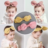 Wholesale Cute Korean Babies - korean Girl Hair Accessories Bunny Ears Hairband Kids Boutique Infant Cotton Cute Baby Rabbit Ear Headbands Wholesale 10pcs lot