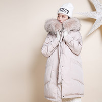 Wholesale Dog Down Coat - high quality natural real raccoon fur collar Hooded white duck down jacket 2017 winter coat women pink loose plus size long parka
