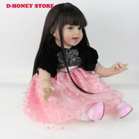 cheveux de poupée pp achat en gros de-55cm Silicone Vinyle Adora Réaliste Mignon Toddler Cheveux Longs Princesse Bonecas Fille Poupée Cadeaux Bebe Reborn Menina De Silicone
