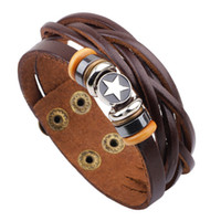 Wholesale Mens Multi Strand Leather Bracelets - Unisex Mens Jewelry Punk Real Genuine Leather Brown Multi Layers Adjustable Wristband Pentacle Charm Bracelets Bangles for Party