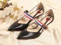 ingrosso sandali con cintura nera-alta qualità ~ u732 40 2 colori in vera pelle cintura sandali a punta tacchi sexy di lusso nero rosso