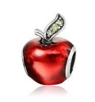 Wholesale Pandora Apple Charm - Fits Pandora Bracelets Silver Red Green Apple Christmas Enamel Charm Bead Loose Beads For Wholesale Diy European Sterling Necklace Jewelry