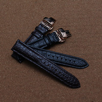 Wholesale Deployment Black Leather Strap - Cowhide Leather Watchbands with Crocodile Grain Special Pattern watch strap rose gold buckle butterfly deployment black brown new 20mm 22mm