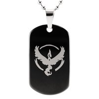 Wholesale Tungsten Carbide Pendants - Shardon Black Tungsten Carbide Dog Tag Pendant Game Anime Team Valor Mystic Instinct Logo Bead Chain Necklace