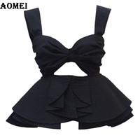 Wholesale Cotton Bar Girl - 2017 Beach to Bar Crop Tank Tops Clothing with Ruffles Summer Trim Solid White Black Zipper Sexy Spaghetti Strap Girls Cropped