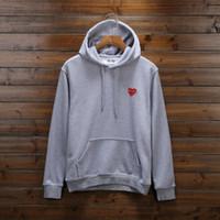 Wholesale Heart Sweater Xl - tide brand play hoodie Sweatshirt Loose Red Heart Embroidery Character Hooded hip hop men women hooded sweater ape sweatershirt