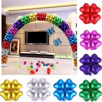Wholesale Wedding Centerpieces 18 Inch - 18 inch Colorful Wedding Decoration Heart balloons Birthday Xmas Party Decor Column Arch Four Leaf Balloon