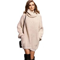 Wholesale thick crochet sweater women - Wholesale- Large size Women Knitted Sweaters fashion Apricot Thick warm pullovers Turtleneck loose pocket knit sweater High Neck Jumper