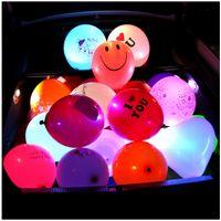 Wholesale Flash Layouts - 20 Pcs Colorful Luminous Balloon Led Lights Flashing Light Balloon Wedding Decoration Layout Latex Balloon With Font Logo 12inch