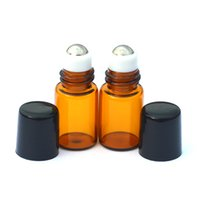 Wholesale Wholesale Fragrance Samples - Empty Mini 2ml Perfume Liquid Roll Amber Glass Bottle Essential Oil Liquid fragrance Sample Metal Roller on Bottle