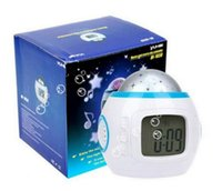 Wholesale Night Light Clock Free Shipping - Colorful Music Starry Star Sky Projection projector with Alarm Clock Calendar Thermometer Christmas Night light FREE SHIPPING MYY