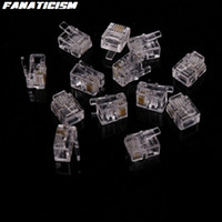 Wholesale Crystal Contacts - High Qulaity 6 Pin 4 Contacts RJ11 RJ-11 Adapter Modular Plug 6P4C Telephone Phone Connector Crystal Head Adapter