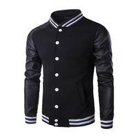 Wholesale Brand Men Leather Coat - Wholesale- Cool College Baseball Jacket Men 2016 Fashion Design Black Pu Leather Sleeve coat Slim Fit Varsity Jacket Brand Veste Homme
