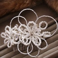 Wholesale Hair Slide Bridal - 2017 New Charm Rhinestone Hair Jewelry Slide Floral Headpiece Beads Flower Wedding Hair Comb Clip Crystal Bridal Hairpin Hair Accessories