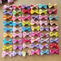 "Wholesale Handmade Jewelry Wholesale Accessories - 100pcs lot 1.4"" handmade kids baby girls hair accessories Wave point dot bow clip hairpin hair clip children hair Barrettes jewelry"