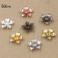 Wholesale Diy Charms - BoYuTe 100 Pcs 7 Colors 16*5MM Flower Charms Wholesale Filigree Brass Material Vintage the hottest latest DIY Charms