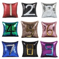 Wholesale Numbered Cushions - DIY Mermaid Sequin Cushion Cover 40*40cm Number Magical Throw Pillow Case Reversible Pillowcase Home Car Decoration LJJO2105