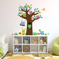 Wholesale Tree Vinyl Wall Sticker Paper - 3018 Removable Night Owl Wall Stickers Large Tree Wall Decals DIY Bird Animal Home Decor for Kids Rooms