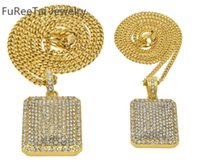 Mens Full Iced Out CZ oro placcato argento dog tag pendente 5mm * 30 '' / 3mm * 24