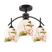 Wholesale Chinese Style Ceiling Lights - Pastoral Glass Lotus Bedroom Ceiling Lights Chinese Style Dining Room Study Room Living Room Ceiling Lamp