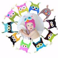 ingrosso animale del cofano del bambino-Cute Cartoon Infant Toddler Handmade lavorato a maglia Crochet Baby Owl Hat con paraorecchie Baby Soft Bonnet Photography Puntelli animali Caps