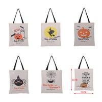 sacs-cadeaux pliants achat en gros de-Sacs de toile portatifs d'Halloween