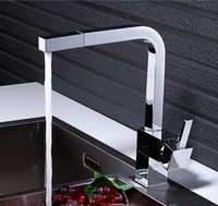 Wholesale Single Lever Shower Tap - new high quality single lever chrome Kitchen faucet single hole square kitchen tap mixer with pull out shower head
