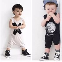 Wholesale Unisex Baby Coverall - Summer Baby Romper Clothing For Newborns Sleeveless Letter Printed New Baby Boy Clothes Coverall Baby Overalls Newborn Clothes