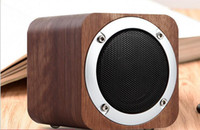 Wholesale Wholesale Wooden Mobiles - New model retro wooden bluetooth mini TF card speakers PC mobile phones subwoofer gift speakers