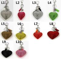 Wholesale Key Chains Diamond Ring - New custom peach heart studded with diamond leather fashion tassel key chain bag pendant key ring can be printed logo S189