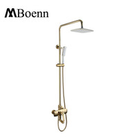 Wholesale Showerhead Set - Wall Mounted Brass Bath Showerhead System Gold Black Rainfall Shower Head Hot Cold Shower Faucets Set Spout With Handheld Shower