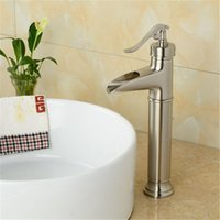 Wholesale Waterfall Bathroom Vessel Sink Faucet - Bathroom Luxury Taps Professional Nickle Brushed Bathroom Basin kitchen Sink Swivel Mixer Vessel Tap Faucet