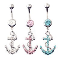 2017 New Silver Anchor Piercings Navel Belly Rings Sexy Bikini Body Jewelry Mulheres Meninas Belly Button Rings Férias de verão