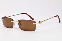 Wholesale Ladies Rimless Polarized Sunglasses - free shipping 2017 lady summer style buffalo horn Glasses female shades women sunglasses luxury brand designer rimless sunglasses
