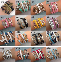 Wholesale Leather Anchor Bracelet Bronze - 55 Styles Infinity Charm Bracelets Multilayer Woven Leather Bracelets Antique Cross Anchor Love Peach Knitting Bronze Diy Charm Bangles