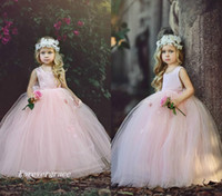 Wholesale Pretty Little Princess Dresses - 2017 Puffy Tulle Floor Length Cute Princess Girl's Pageant Dress Vintage Blush Pink Arabic Party Flower Girl Pretty Dress For Little Kid