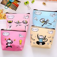 Vente en gros - Fashion Women Coin Purses Cute Girl Animal Mini Bag Porte-clés en cuir Zipper Wallet Lovely Monkey Face Pouch Change Purse Wholesale