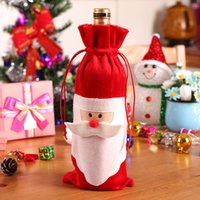 Wholesale Santa Claus Table - Wholesale-New Hot Red Wine Bottle Holder Cover Christmas Santa Claus Scarf Cap Bottle Bag Dinner Table Decoration Indoor Home Party Decor