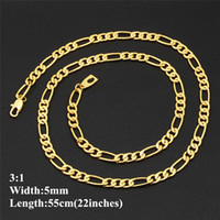 Wholesale simple gold necklace for wedding - Simple Fashion Men Chains 18k Real Yellow Gold Plated 22inches Chain Necklace for Men Women Nice Gift JNL1012