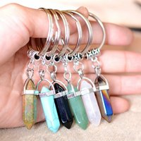 Wholesale Pointed Stone Ring Wholesale - 24 colors Hexagon Prism Natural Stone Pendant Key Rings Point Chakra Healing Bullet Shape Crystal Keychain Jewelry for women men
