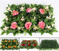 Wholesale Dried Decorative Plants - 40*60cm Artificial Rose Flower Lawn For Plant Wall Background Wedding Party Home Office Bar Decorative