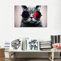 Wholesale print big pictures - Unframed Cool Cat With Big Glasses Wall Art Oil Painting On Canvas Paintings Picture Decor Living Room Decor