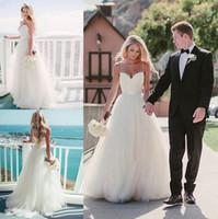 Wholesale Pure White Crystal Wedding Dresses - Pure White Beach aline Wedding Dresses 2017 Backless Sweetheart Floor Length Vestido De Noiva Simple Bridal Gowns Cheap