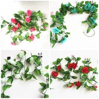 Wholesale red carnation flower - Home Decor Artificial Flowers Leaves 2.45M Fake Simulation Rose Flower Vines With Green For Wedding Decorations Multi Color 3 5ql C RW