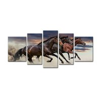 Wholesale Horse Picture Frames - Modern Huge Canvas Paintings Three Fine Horses Running Animal Picture Prints with Wooden Frame For Home Decoration as Gifts 5P