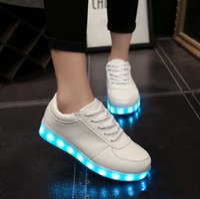 online shopping Led Luminous Shoes - LED Men Women Black White Color Luminous Shoes Colorful Glowing Unisex Sneakers USB Charging Light Shoes Leisure Flat Shoes